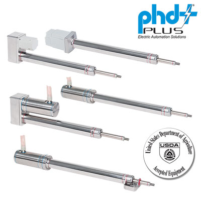 PHD Plus Series ECP Electric IP69K Cylinders for Washdown and Food Grade Applications